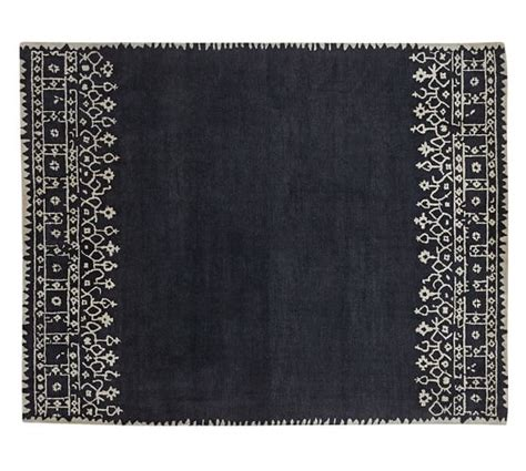 Pottery Barn Blue Rug Desa Bordered Wool Rug Indigo Blue Pottery Barn