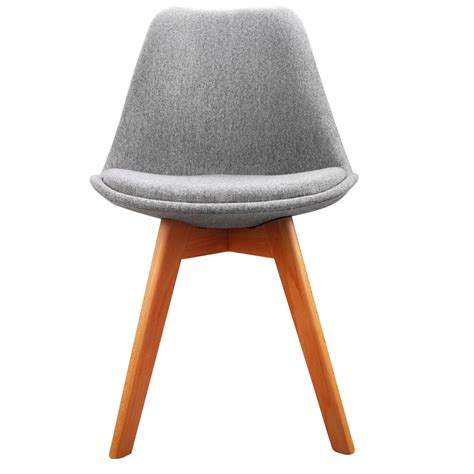 Set Of 2 Dining Chair Padded Fabric Grey Padded Dining Chair
