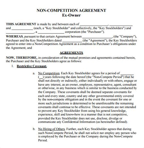 non compete template sle non compete agreement 7 documents in pdf word
