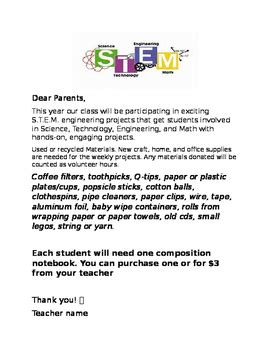 Introduction Letter To Parents s t e m introduction letter for parents by