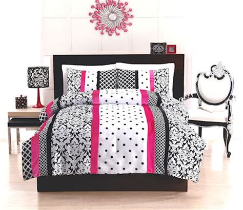pink black white damask bedroom polyvore elegant teen girl black white hot pink bedding twin