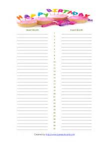 Birthday List Template By Month Best Photos Of Printable Monthly Birthday List Templates