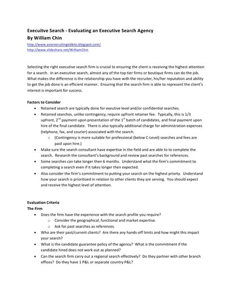 Executive Search Check List Executive Search Agreement Template