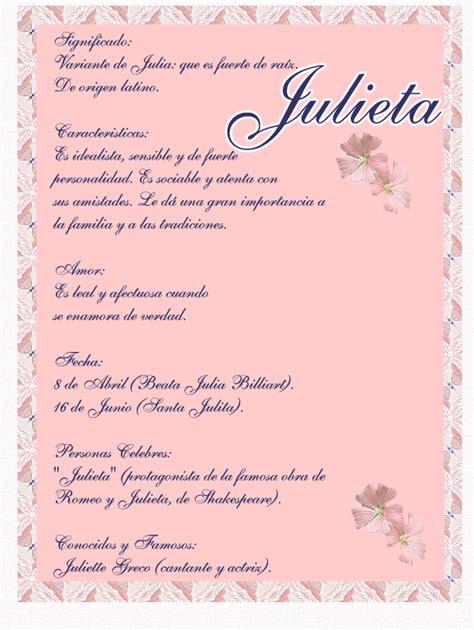 julieta significado del nombre julieta nombres julieta significado spanish women names nombres de