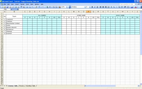 Excel Tables Templates by Create Your Own Soccer League Fixtures And Table Excel