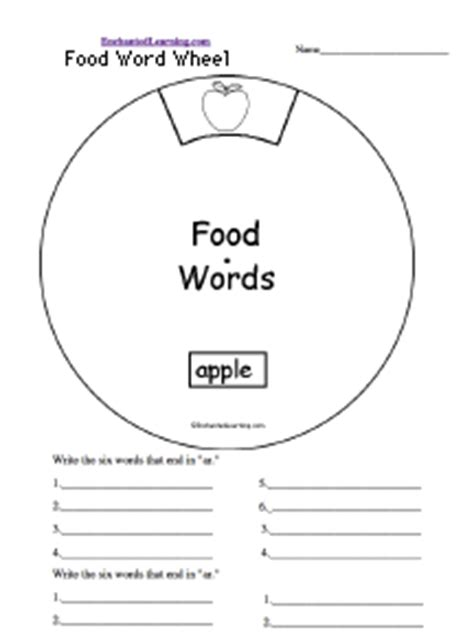 food wheel template word wheels printable worksheet enchantedlearning