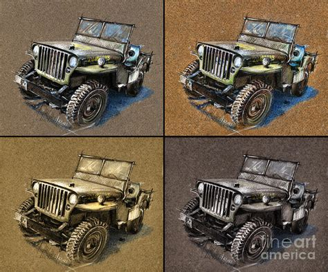 jeep painting canvas willys jeep mb car drawing drawing by daliana pacuraru