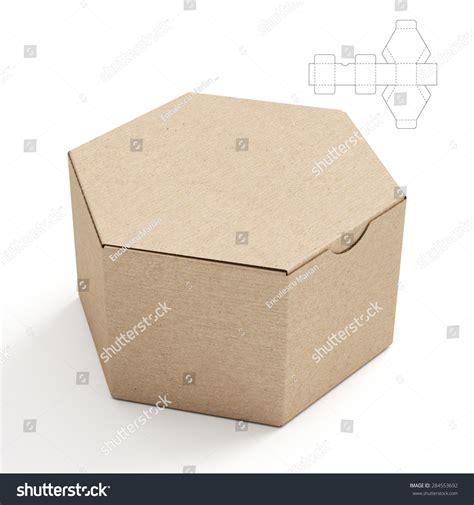 Closed Hexagonal Cardboard Box Box Die Stock Illustration 284553692 Shutterstock Cardboard Box Design Templates