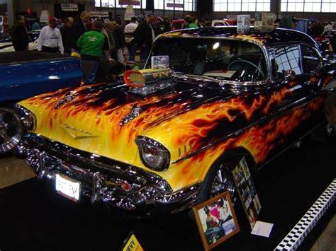 1957 camero cars 1957 chevy flames paint job custom cars