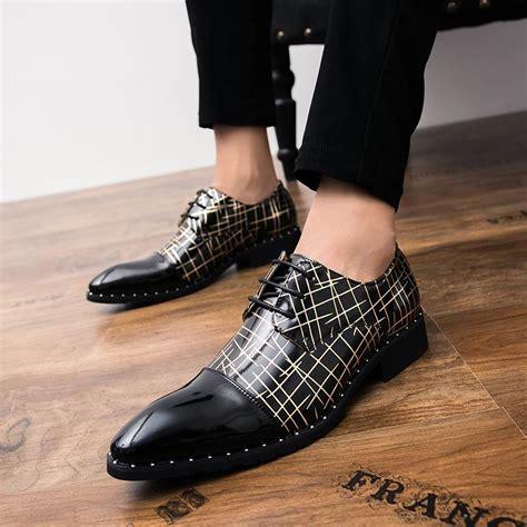 errfc designer black dress shoes fashion toe lines rivets lace up busienss leisure pu