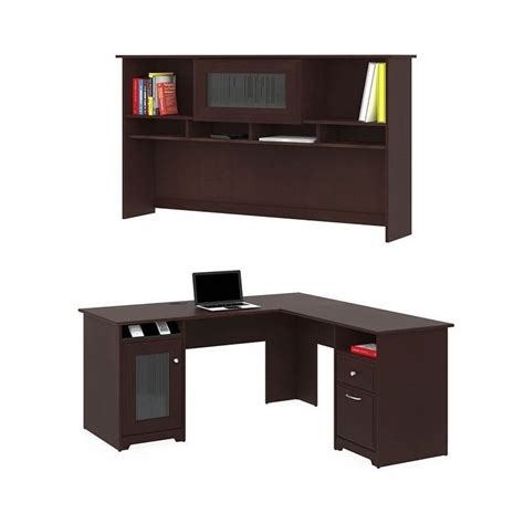 Bush Cabot L Shaped Desk Bush Cabot 60 Quot L Shaped Computer Desk With Hutch In Harvest Cherry Wc31430 03 Kit