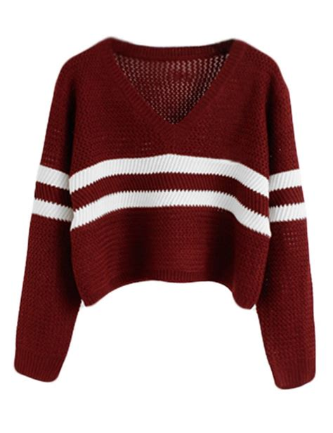 Sweater Coolwoman Maroon prettyguide eyelet cable knit lace up crop sleeve sweater crop tops striped burgundy