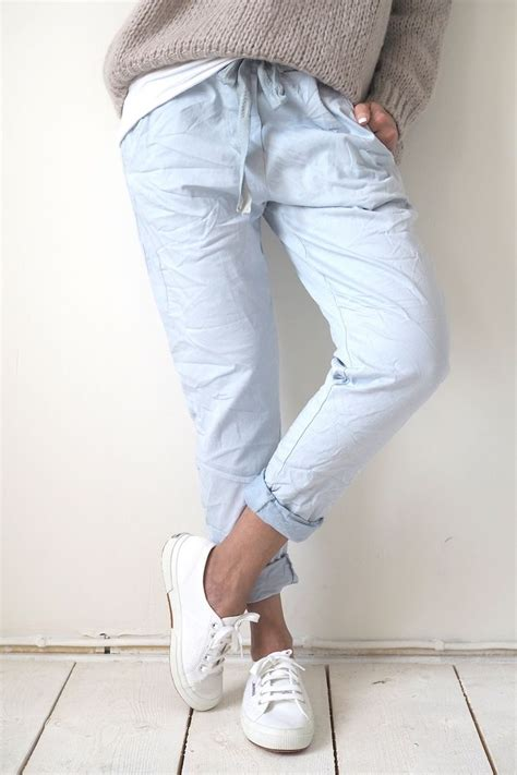 light blue jean joggers 1000 ideas about jean joggers on green