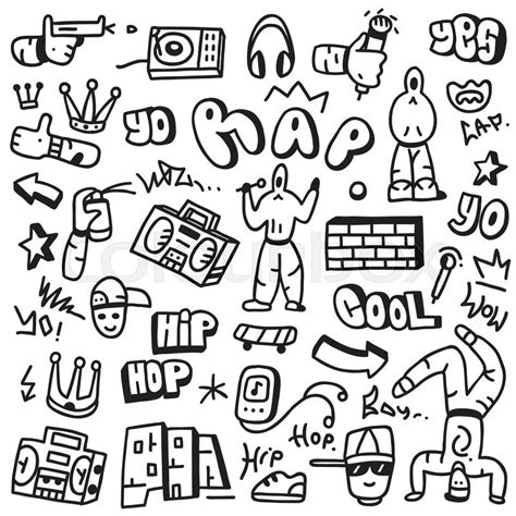 doodle hip hop rap set icons in sketch style stock vector colourbox
