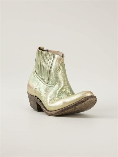 Golden Goose Cowboy Boots by Golden Goose Deluxe Brand Distressed Cowboy Boots In Green