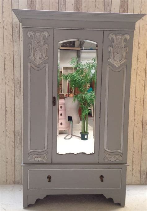 Grey Wardrobe Armoire Vintage Chic Mirrored Wardrobe Armoire
