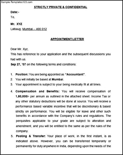 appointment letter electrical engineer appointment letter format sle templates