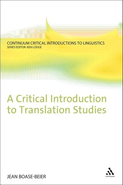 A Critical Introduction To Phonetics a critical introduction to translation studies continuum critical introductions to linguistics