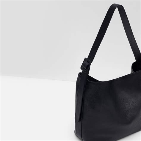 Zara Bag With Buckles zara leather bag with buckle handle in black lyst