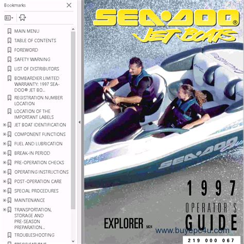 sea doo jet boat manual download sea doo jet boat challenger 1800 manual 1997