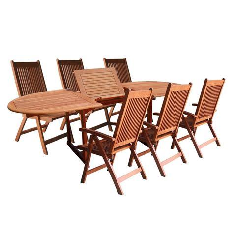 home depot patio table set vifah eucalyptus 7 piece patio dining set with oval