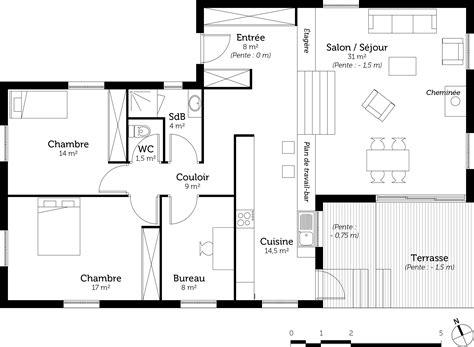 plan maison demi niveau 4 chambres plan maison 224 demi niveau ooreka