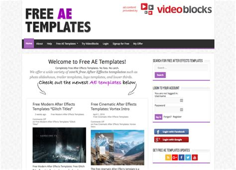 onde encontrar templates para after effects listas