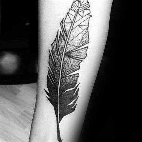 30 geometric feather tattoo designs for men shaped ink ideas
