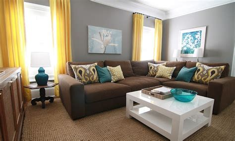 teal yellow brown living room modern house