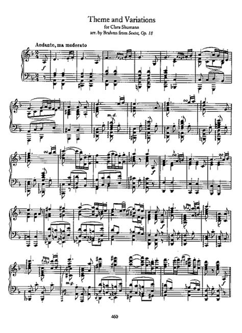 theme variations music theme and variations for clara schumann piano sheet