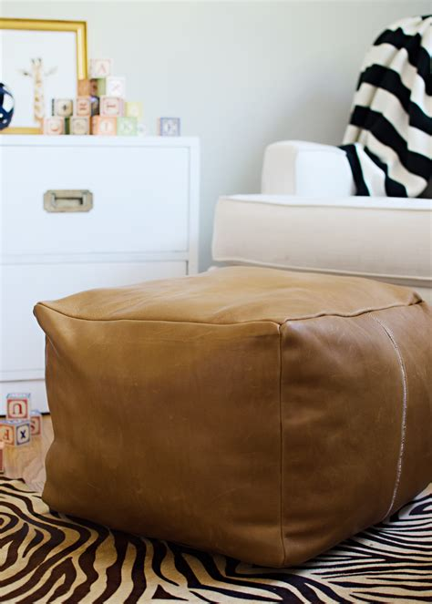 Diy Footstool Ottoman Diy Leather Pouf Giveaway With The Leather Hide Store Brittanymakes
