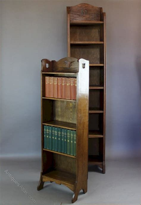 arts and crafts open bookcase in oak with yin and