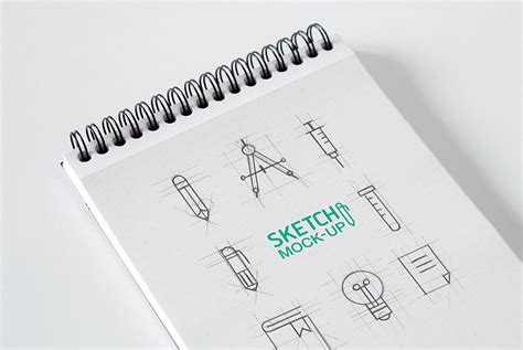sketchbook or photoshop set of spiral sketchbook mockups mockupworld