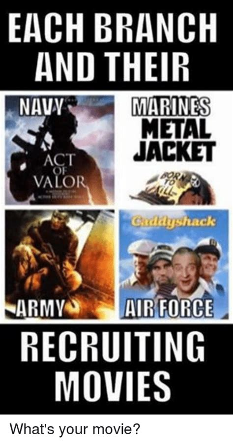 Army Recruiter Meme - each branch and their navy marines metal jacket act valo