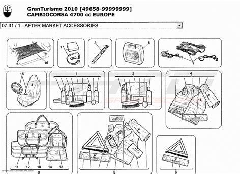 maserati parts catalog maserati granturismo 4 7l boite f1 2010 after market