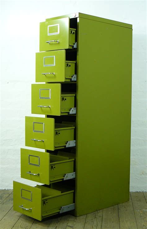 Vintage 1960/ 1970 Narrow Six Drawer Pea Green Metal Cabinet