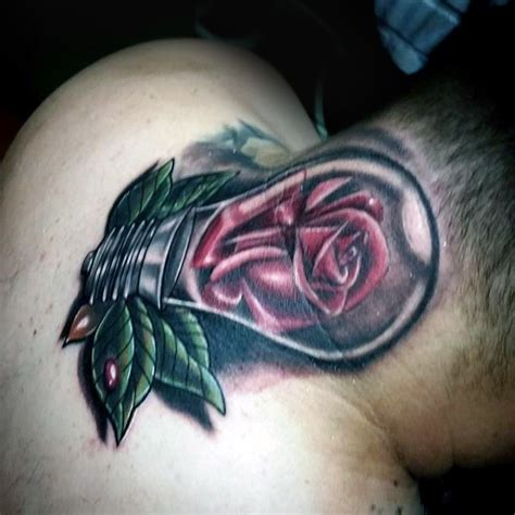 neck tattoo realistic realistic looking colored neck tattoo of bulb with rose