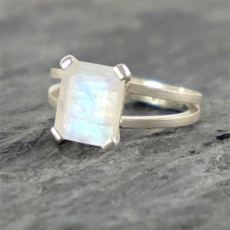moonstone engagement ring rainbow moonstone sterling silver