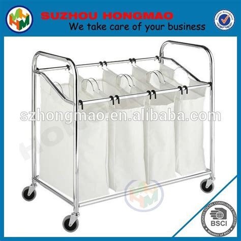 Folding Laundry Basket Cart Screw Connected 3 Compartment Multi Compartment Laundry
