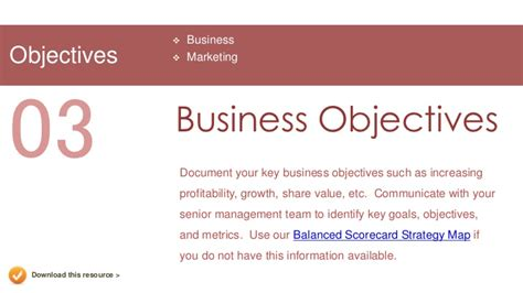 templates for business objectives marketing plan presentation template
