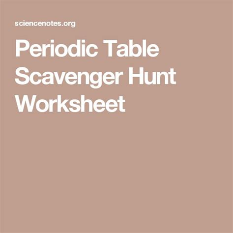 Periodic Table Scavenger Hunt Worksheet Middle School by Periodic Table Scavenger Hunt Worksheet Periodic Table