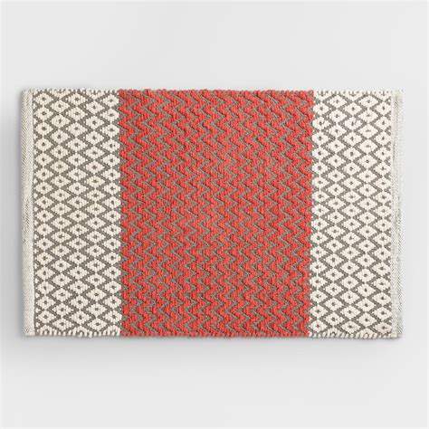 matt rug coral and gray chenille bath mat world market