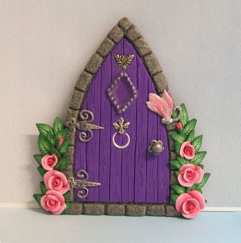 purple gothic style fairy door with roses | handmade in