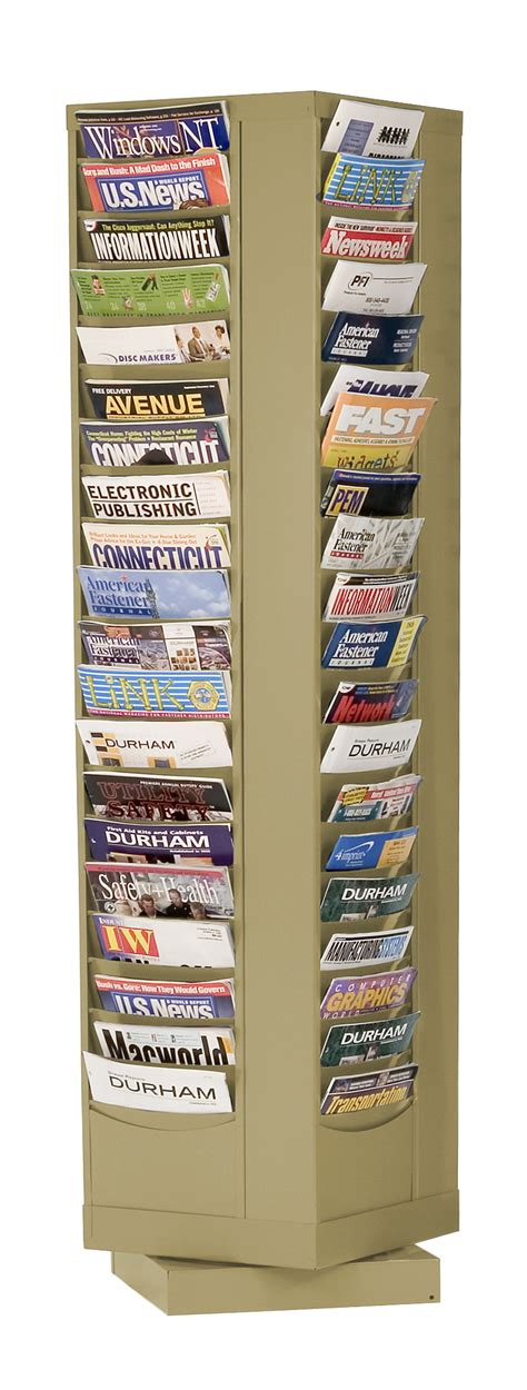 Rotating Magazine Rack by 80 Pocket Revolving Literature Display Metal Magazine Rack