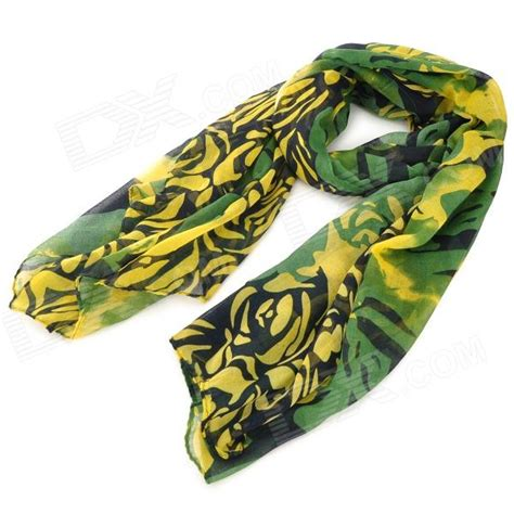 yellow pattern scarf flower pattern voile scarf shawl for women green