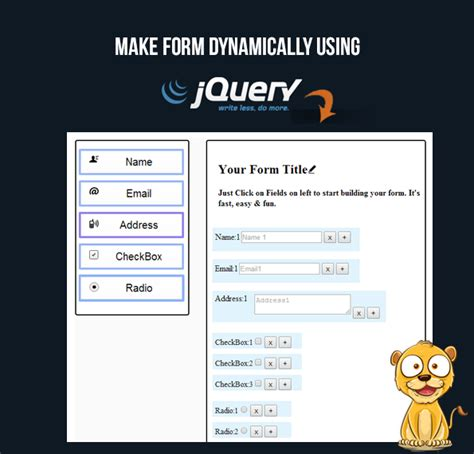 design form jquery create dynamic form fields using jquery formget