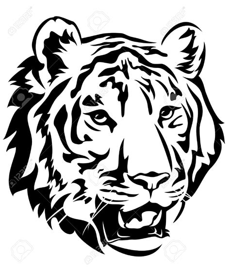 tiger face clipart black and white clipartsgram com