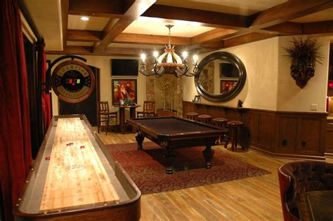 design the best man cave ever shuffle board beams and
