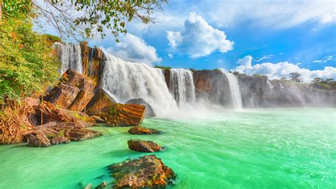 dry nur beautiful waterfall  vietnam  turquoise