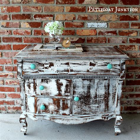 shabby chic distressed furniture turquoise knobs and a distressed shabby white dresser petticoat junktion